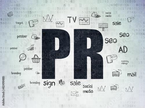 Fotografía  Marketing concept: PR on Digital Paper background