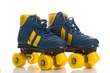 Vintage Retro Quad Roller Skates On White Background