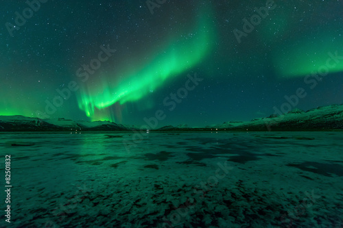 Photo Stands Antarctic Aurora borealis, northern lights
