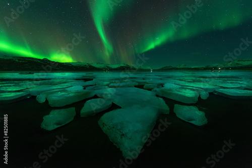 Photo  Northern lights aurora borealis in the night sky over beautiful