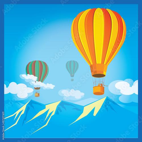 In de dag Regenboog Air Balloons over the mountains