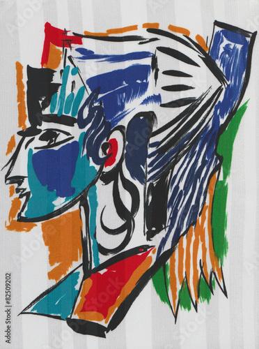 Fotografía  Portrait d'un profil de femme à la manière de Picasso.