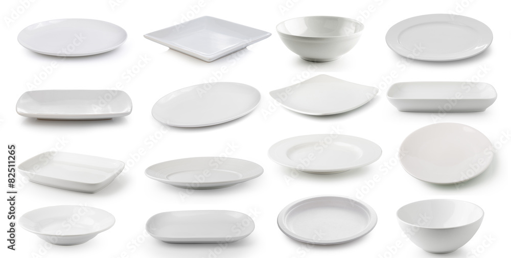 Fotografie, Obraz white  ceramics plate and bowl isolated on white background