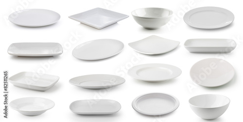 Photo  white  ceramics plate and bowl isolated on white background