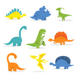 Fototapeta Dino - Happy Cartoon Dinosaur Set