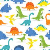 Fototapeta Dinusie - Happy Cartoon Dinosaur Seamless Pattern Background