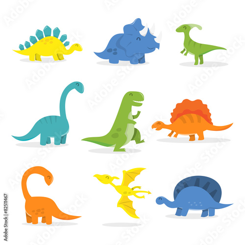 Photo  Happy Cartoon Dinosaur Set