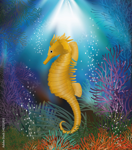 Foto op Plexiglas Zeemeermin Underwater wallpaper with seahorse, vector illustration