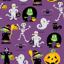 Halloween Monsters Seamless Pattern Background