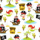 Pirate Treasure Island Seamless Pattern Background