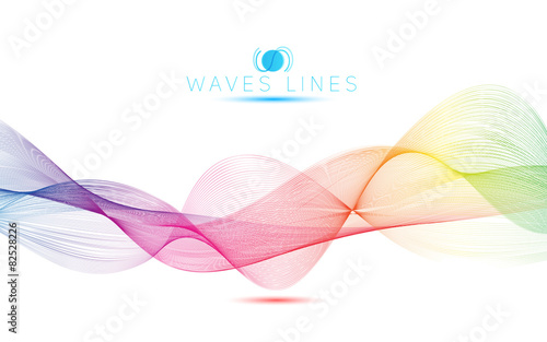 rainbow waves colorful gradient light blend line vector abstract Canvas Print