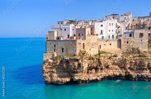 Panoramic view of Polignano. Puglia. Italy.