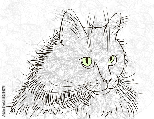 Papiers peints Croquis dessinés à la main des animaux cat ink