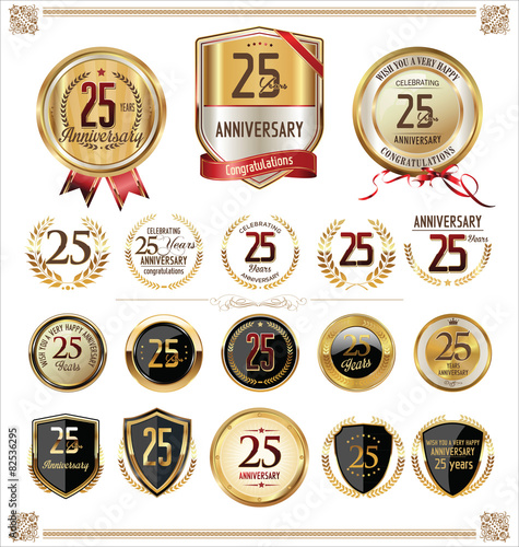Poster  Anniversary golden labels and badges, 25 years