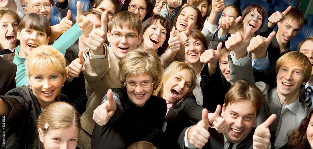 Fototapeta Happy Crowd with Thumb Up