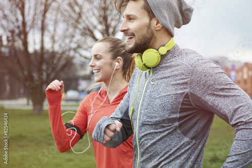 Fotografie, Obraz  Endorphins during the jogging with girlfriend