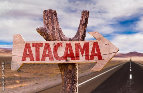 Wall Murals Algeria Atacama wooden sign with Valle de la Luna background