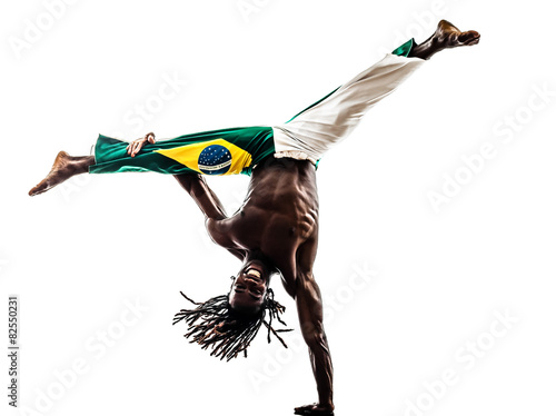 Fotografie, Tablou  Brazilian  black man dancer dancing capoeira  silhouette