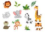 Fototapeta Fototapety na ścianę do pokoju dziecięcego - Jungle animal Vector set