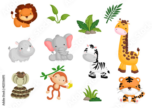 Jungle animal Vector set Wallpaper Mural