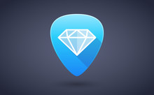 Blue Guitar Pick Icon With A Diamond