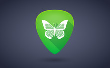 Green Guitar Pick Icon With A ...