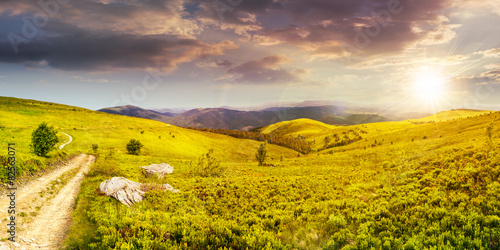 Canvas Prints Honey road on hillside meadow in mountain panorama at sunset