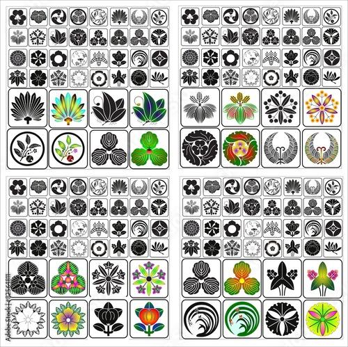 Fotografia, Obraz  Japanese crests Batch C