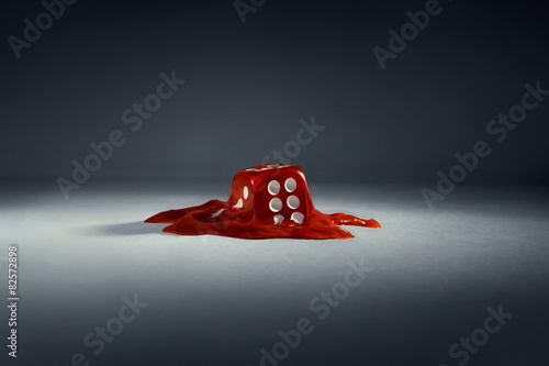 Dice. Red melting cube + Path Wallpaper Mural