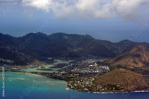 Photo  Aerial view of Kuapa Pond, Hawaii Kai Town, Portlock, clouds and