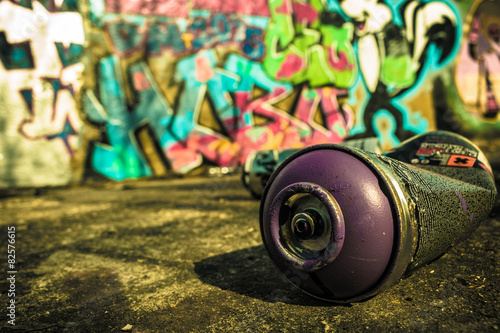Montage in der Fensternische Graffiti Spray Can Used For Graffiti | Stock image