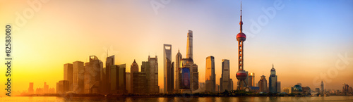 Poster Chine Pudong panorama at sunrise, Shanghai, China