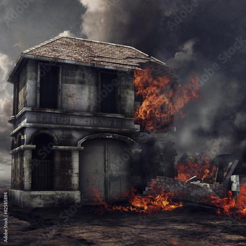 Samotnie stojący budynek w ogniu Canvas Print