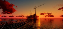 Offshore Oil And Rig Platform In Sunset Time. Construction Of Production Process In The Sea. Power Energy Of The World..3d Render