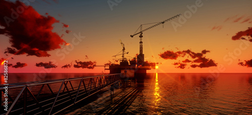 Fototapeta Offshore oil and rig platform in sunset time. Construction of production process in the sea. Power energy of the world..3d render obraz