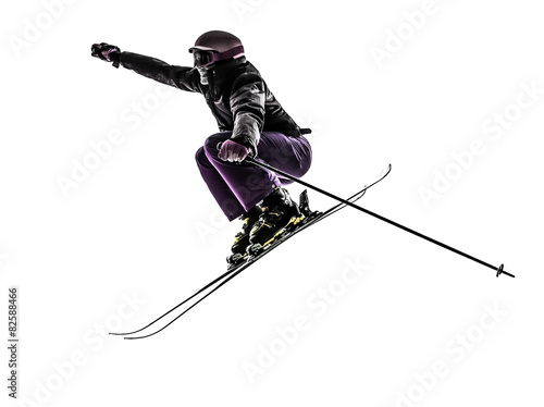 Poster Portrait Aquarelle one woman skier skiing jumping silhouette