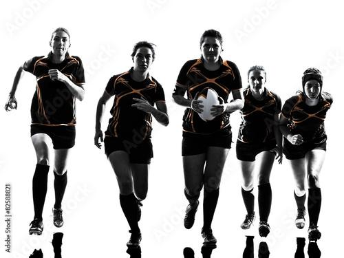 Fotografie, Obraz rugby women players team silhouette