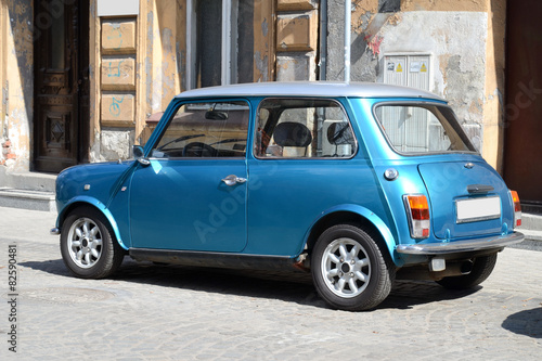 Türaufkleber Autos aus Kuba Small blue car