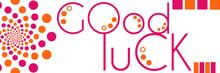 Good Luck Text Peach Pink Circ...