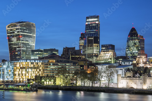 Cityscape of London at night Wallpaper Mural