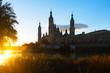 Cathedral in sunny morning. Zaragoza