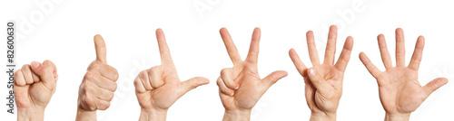 Fotografie, Obraz  Hand zählt von null bis fünf