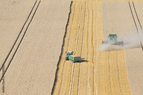 Foto op Canvas Platteland Combine harvester, with tractor and trailer, in rural field