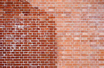 close up of  red aged brick background