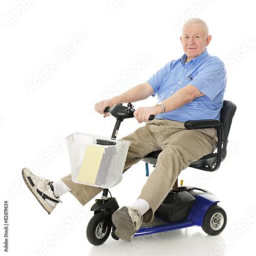 Fotografia, Obraz  Delighted Senior Scooter Driver