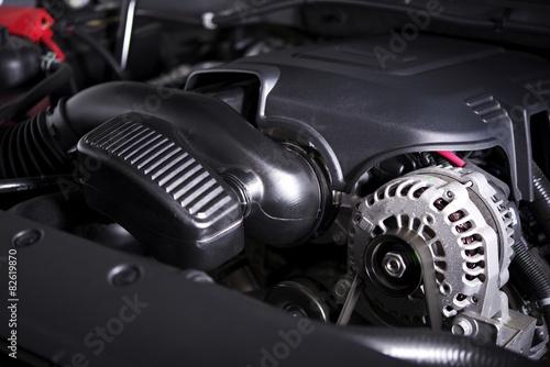 Modern Car Alternator and Engine Canvas Print