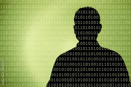Mensch im Datenfluss grün Wallpaper Mural