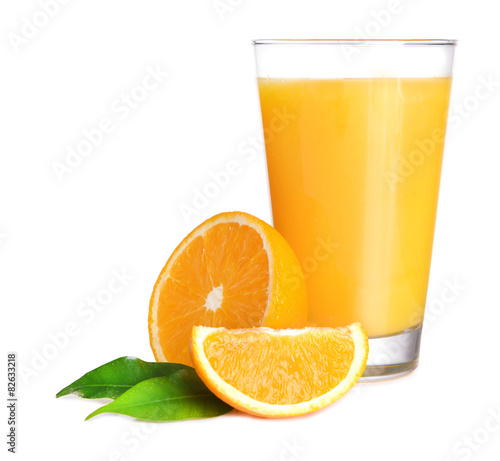 Foto auf Gartenposter Saft Glass of orange juice isolated on white