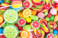 Colorful Lollipops And Candy