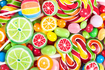 Fototapeta Colorful lollipops and candy